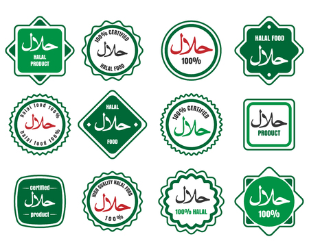 Islamic kosher certified arabic meal emblems. Vector halal signs or islamic food logo icons Illustration