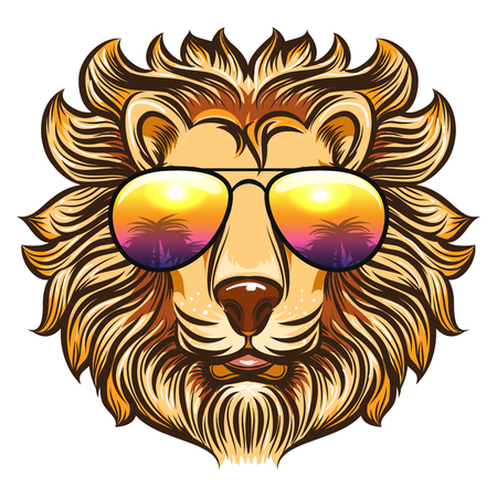 Lion in rainbow glasses in cartoon style. Hand drawn leo in sunglasses with palms design, vector illustration on white background