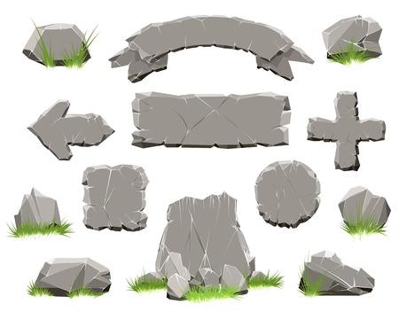Rock cirkel knop, stenen banner vectorillustratie. Lint van stenen en pijl van Rotsen voor natuurlijk spelontwerp dat op witte achtergrond wordt geïsoleerd Stock Illustratie