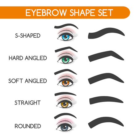 shaping: Eyebrow shaping for woman face makeup. Eyebrows shape set vector illustration