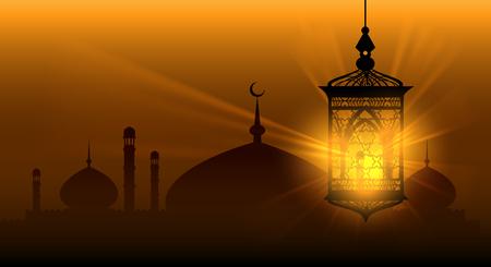 Las noches árabes ramadan kareem fondo islámico ramadane lámpara árabe o fondo de vector de linterna árabe
