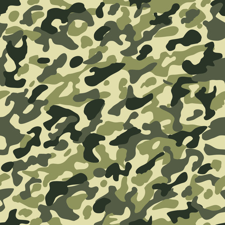Camouflage seamless pattern. Hunting or soldier camo repeat cloth vector texture with dark brown and green khaki colors Illustration
