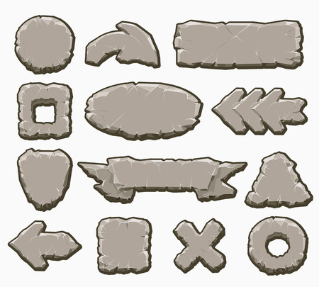 Rock interface buttons vector illustration. Cartoon stone ui elements like arrows and panels, frames and banners for game design isolated on white