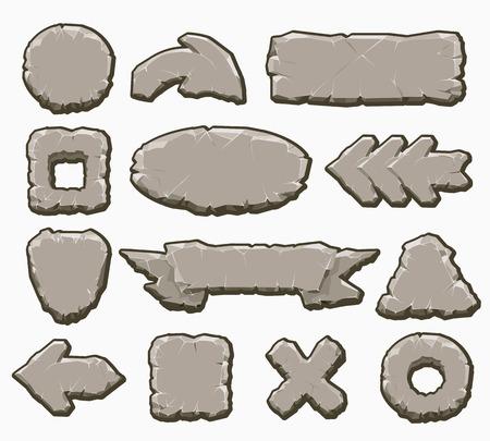 Rock interface knoppen vector illustratie. De elementen van de beeldverhaalsteen ui zoals pijlen en panelen, kaders en banners voor spelontwerp op wit wordt geïsoleerd dat Vector Illustratie