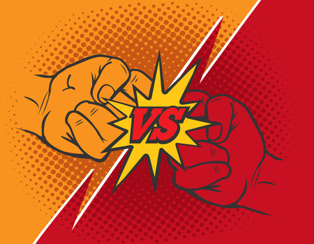 Versus rivalry fist vector background. Boxer punching or clashing fists for disagreement battle Illustration