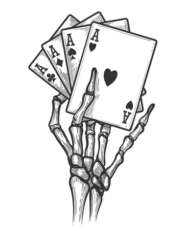 Black jack bones hand vector illustration. Engraving skeleton hand with four aces