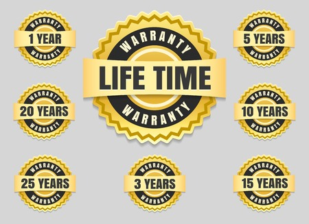 Service lifetime and years warranty labels and guarantee seals vector icons set