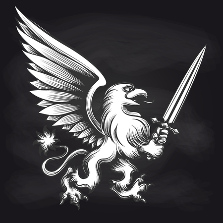 Hand drawn engraving griffin with sword isolated on chalkboard black and white sticker. Vector illustration