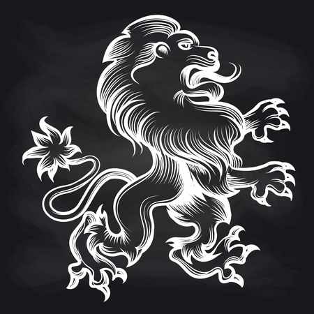 Hand drawn white engraving royal lion on blackboard background. Vector illustration Illustration