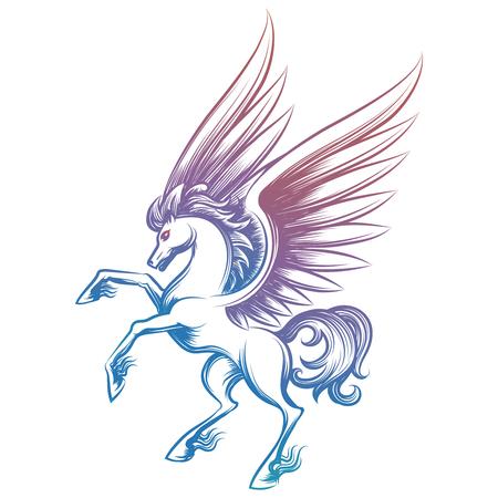 R? Cznie rysowane Pegasus ilustracji wektorowych. Kolorowe szkicowane Pegasus samodzielnie na białym tle