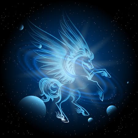 Lichtgevende Pegasus in ruimte vectorillustratie. Pegasus op ruimteachtergrond met planeten en sterren