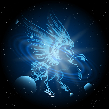 Luminous Pegasus in Space vector illustration. Pegasus on space background wth planets and stars