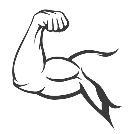 Bodybuilder muscle flex arm vector illustration. Strong macho biceps gym flexing hand vector icon isolated on white background Vectores