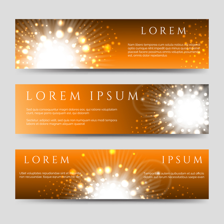 Abstract horizontal banners collection with golden flashes of light and stars. Vector illustration Illustration