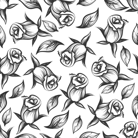 monochromic: Sketched rose and leaves seamess pattern. Vector monochromic floral texture design Illustration