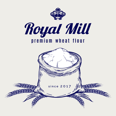 Hand drawn whole bag of wheat flour. Vector premium mill product emblem