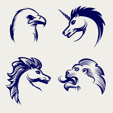 animal silhouette: Engraving style animal design. Vector heads of horse, eagle, lion and unicorn