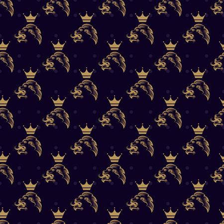 royal safari: Royal seamless pattern with lion and crown on polka dots backdrop. Vector illustration