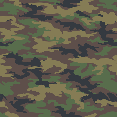 Military army camo background. Vector woodland hunting camoflauge seamless pattern Vettoriali