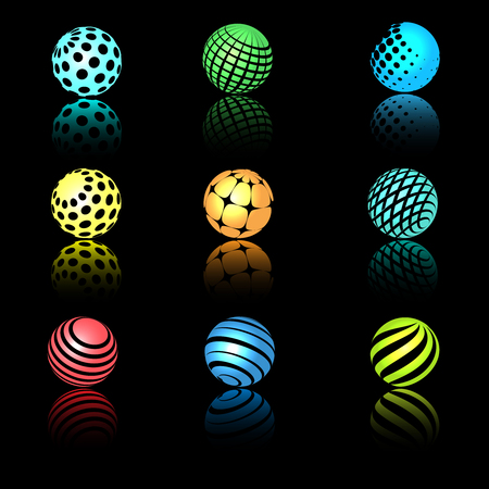Sphere 3d objects with texture for science, research and nano technology logo designs Illustration