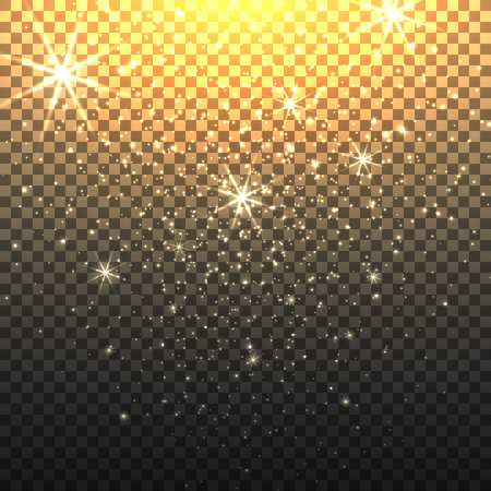 Stardust sparkly backdrop with starfall or glitter star rain with transparent background vector illustration
