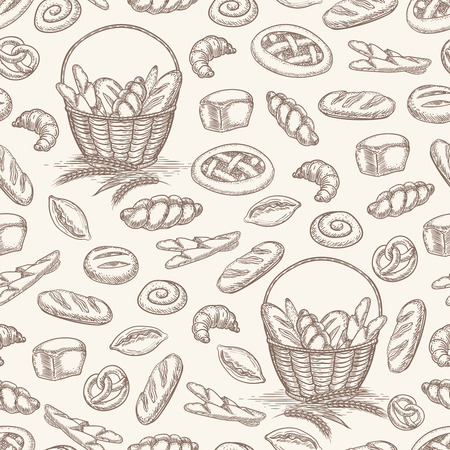 Hand drawn bakery products seamless pattern. Vector illustration