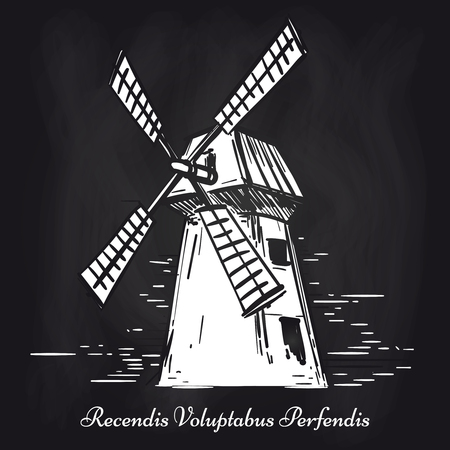 Hand sketched mill on chalkboard background. Vector blackboard mill poster