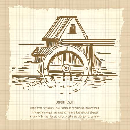 irish landscape: Hand sketched vintage mill poster design. Vector illustration Illustration