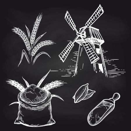 Moulin et produits de moulin. Sac entier Vector de farine et moulin et épis de blé sur tableau noir