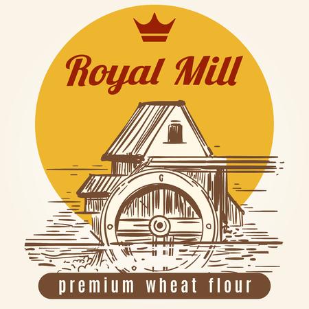 irish landscape: Royal mill banner design. Vector hand drawn agrocultural or harvest background