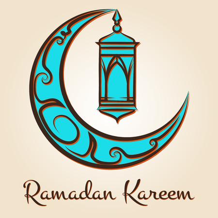 Ramadan Kareem logo. Vector arabic islamic emblem with ornate moon and lamp