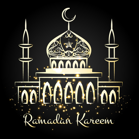 bayram: Ramadan kareem night mosque with golden lights. Vector illustration Illustration