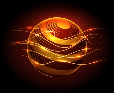 flaws: Abstract graphic design vector background with power energy sphere and lights flaws in darkness