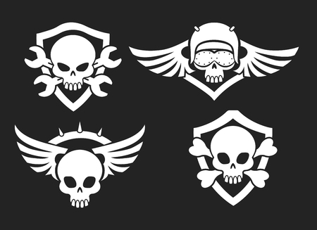 Motorbike riders skull signs. Vector biker club road symbols with skeleton skulls with wings and helmet