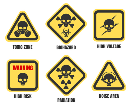 Skull signs, death notice isolated on white background. High voltage and radiation, biohazard, toxic zone and radiation vector symbols set Illustration
