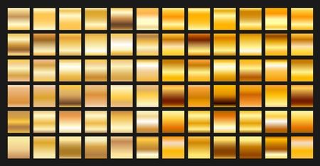 plate: Digital design golden gradient icons. Vector gold shiny plate object textures set isolated on black background