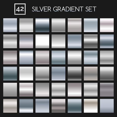 argent: Silver metallic gradient set. Argent or metal gradients for fashion and design