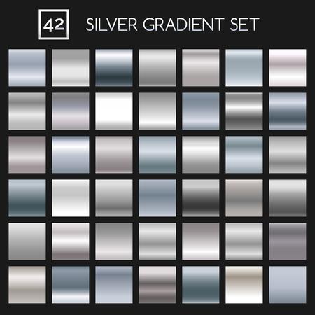 Zilverkleurige metalen verloopset. Argent- of metaalgradiënten voor mode en design Vector Illustratie