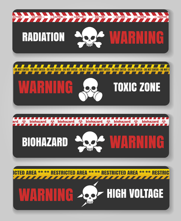 tresspass: Danger and caution signs with skulls. Warning tape safety black hazard banners vector illustration Illustration