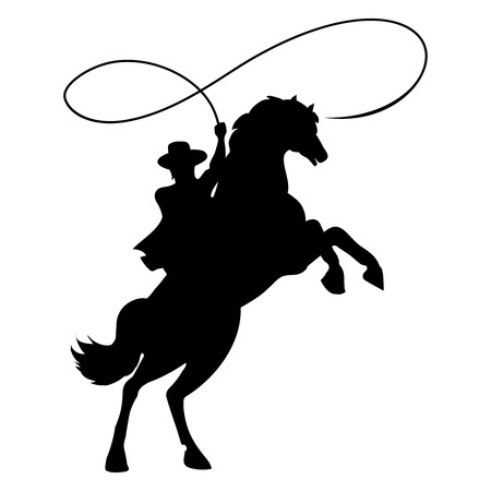 Cowboy silhouette with rope lasso on horse vector illustration isolated on white background for rodeo western design Vettoriali
