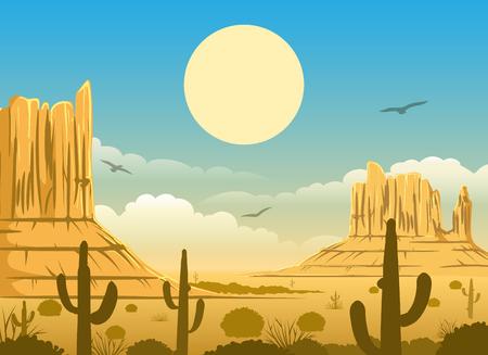 Coucher de soleil horizonte coucher de soleil occidental horizon de dessin animé occidental panorama avec montagnes, ciel et cactus Banque d'images - 78961567