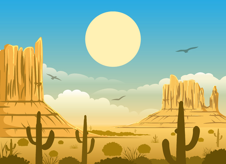 Western cartoon mexican desert sunset horizonte panorama background with mountains, sky and cactuses