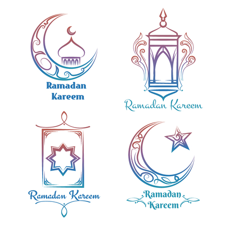 Ramadan Kareem logo design. Vector colorful arabic islamic banners