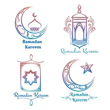 Ramadan Kareem logo design. Vector colorful arabic islamic banners
