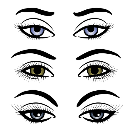 Colorful female eyes and brows isolated on white background. Vector illustration