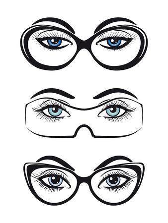 Female eyes with glasses set isolated on white background. Vector illustration Vector Illustration