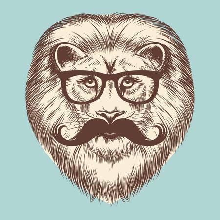 Hipsterleeuw met oogglazen en snor. Vector dierlijk vintage print ontwerp Vector Illustratie