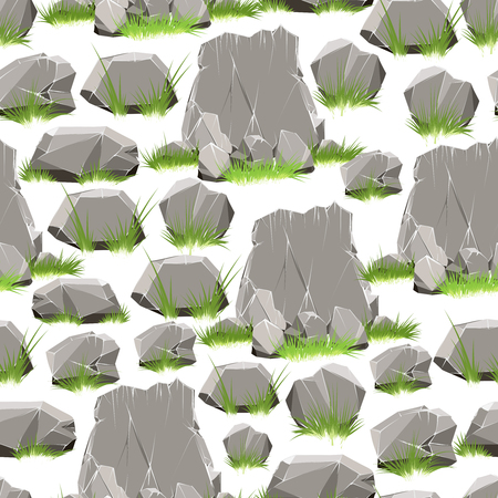 Cartoon-Stil Steine ??mit Gras nahtlose Muster. Vektor-Illustration