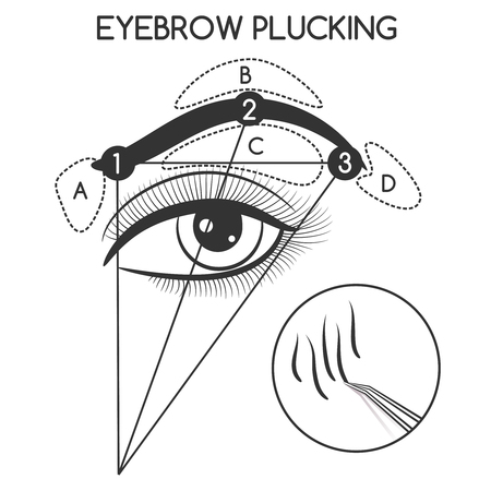 Eyebrow plucking concept isolated on white background. Vector illustration