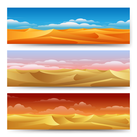 sand dunes: Sand dunes panorama landscape set. Desert banners freedom tranquility yellow nature vector illustration